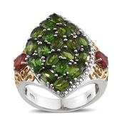 Russian Diopside, Jalisco Fire Opal, Diamond 14K YG and Platinum Over Sterling Silver Cluster Openwork Ring (Size 6.0) TDiaWt 0.01 cts, TGW 5.810 cts.