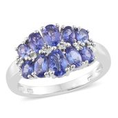 Premium AAA Tanzanite Platinum Over Sterling Silver Ring (Size 6.0) TGW 2.44 cts.