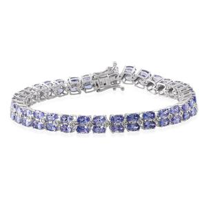 Tanzanite, White Zircon Platinum Over Sterling Silver Bracelet (7.75 In) TGW 16.500 cts.
