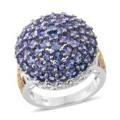 Tanzanite 14K YG and Platinum Over Sterling Silver Cluster Ring (Size 6.0) TGW 5.300 cts.