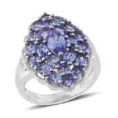 Tanzanite Platinum Over Sterling Silver Ring (Size 8.0) TGW 4.850 cts.