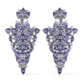 Tanzanite Platinum Over Sterling Silver Earrings TGW 10.44 cts.