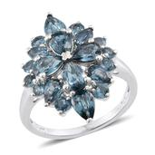 Teal Kyanite Platinum Over Sterling Silver Ring (Size 7.0) TGW 5.310 cts.