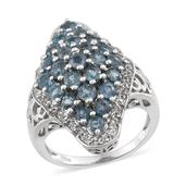 Teal Kyanite, White Topaz Platinum Over Sterling Silver Ring (Size 7.0) TGW 4.02 cts.