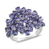 Tanzanite, White Zircon Platinum Over Sterling Silver Ring (Size 7.0) TGW 7.380 cts.