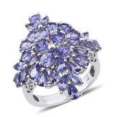 Tanzanite Platinum Over Sterling Silver Ring (Size 5.0) TGW 6.68 cts.