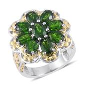 Russian Diopside 14K YG Over and Sterling Silver Ring (Size 7.0) TGW 5.350 cts.