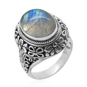 Bali Legacy Collection Sri Lankan Rainbow Moonstone Sterling Silver Ring (Size 6.0) TGW 11.050 cts.