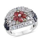 Multi Sapphire, White Topaz Platinum Over Sterling Silver Ring (Size 7.0) TGW 5.090 cts.