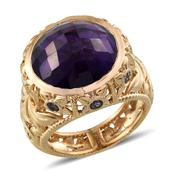 Amethyst, Catalina Iolite 14K YG Over Sterling Silver Ring (Size 7.0) TGW 18.00 cts.