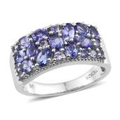 Tanzanite Platinum Over Sterling Silver Ring (Size 6.0) TGW 2.83 cts.