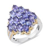 Tanzanite 14K YG and Platinum Over Sterling Silver Ring (Size 7.0) TGW 3.500 cts.