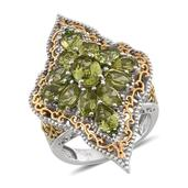 Hebei Peridot, Russian Diopside 14K YG and Platinum Over Sterling Silver Elongated  Ring (Size 10.0) TGW 6.790 cts.