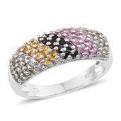 Multi Sapphire, White Topaz Platinum Over Sterling Silver Ring (Size 8.0) TGW 1.740 cts.