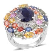 Kanchanaburi Blue Sapphire, Multi Gemstone Platinum Over Sterling Silver Ring (Size 7.0) TGW 11.495 cts.