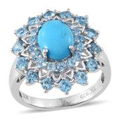 Everlasting by Katie Rooke Arizona Sleeping Beauty Turquoise, Swiss Blue Topaz 14K YG and Platinum Over Sterling Silver Ring (Size 10.0) TGW 5.730 cts.