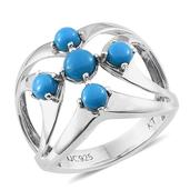 Everlasting by Katie Rooke Arizona Sleeping Beauty Turquoise Platinum Over Sterling Silver Ring (Size 6.0) TGW 1.660 cts.