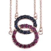 Everlasting by Katie Rooke Ruby, Kanchanaburi Blue Sapphire 14K RG Over Sterling Silver Pendant With Chain (20 in) TGW 1.94 Cts.