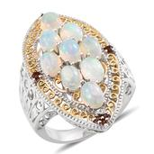 Ethiopian Welo Opal, Mozambique Garnet 14K YG and Platinum Over Sterling Silver Ring (Size 7.0) TGW 5.10 cts.