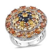Multi Sapphire 14K YG and Platinum Over Sterling Silver Ring (Size 9.0) TGW 4.950 cts.
