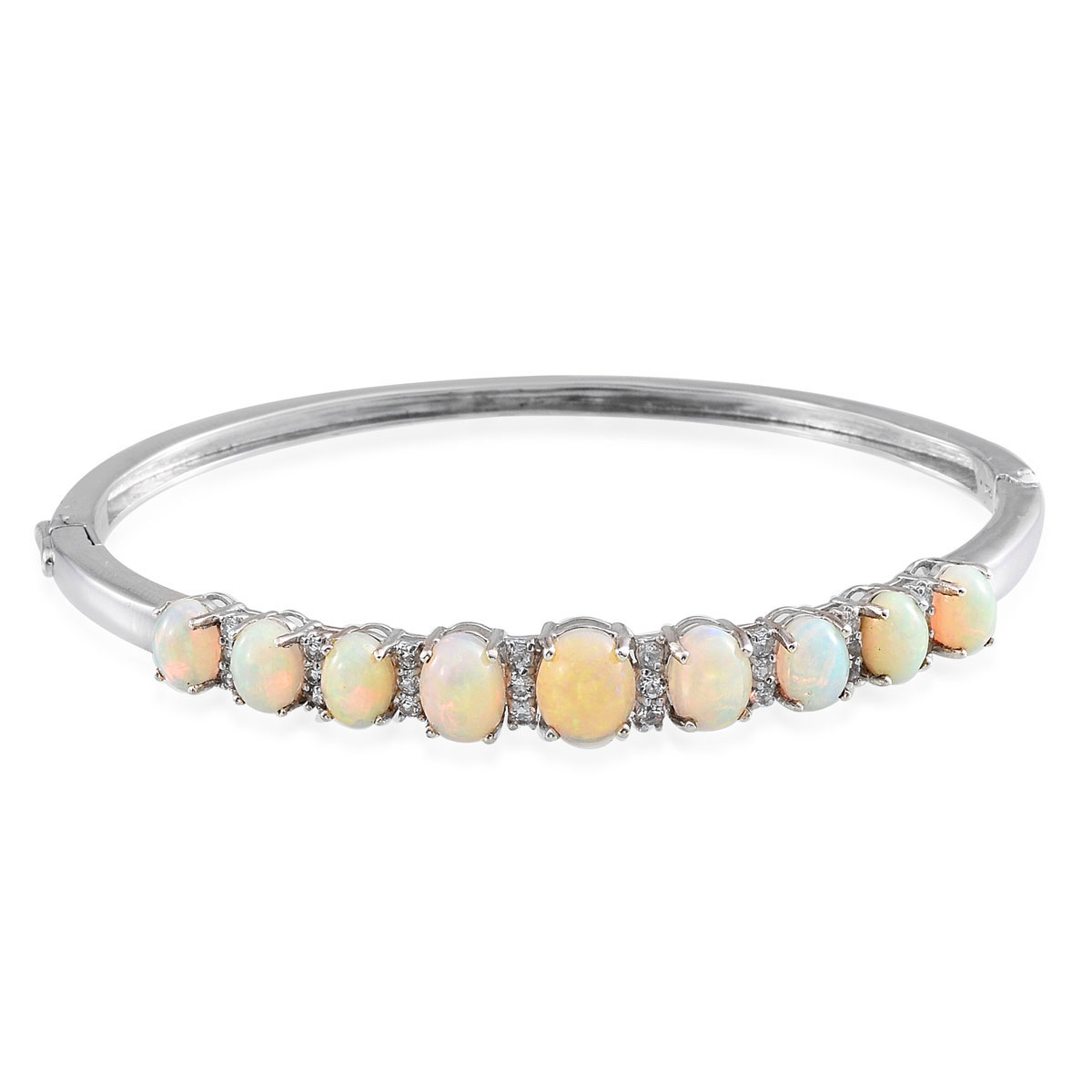Ethiopian Welo Opal, White Topaz Platinum Over Sterling Silver Bangle (7.5 in) TGW 8.56 cts.
