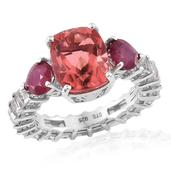 Papaya Quartz, Niassa Ruby, White Topaz Platinum Over Sterling Silver Ring (Size 7.0) TGW 12.300 cts.