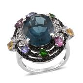 Jewel Studio by Shweta Blue Fluorite, Multi Gemstone Platinum Over Sterling Silver Ring (Size 6.0) TGW 14.520 cts.