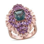 Blue Fluorite, Amethyst 14K RG Over Sterling Silver Elongated Ring (Size 9.0) TGW 7.77 cts.
