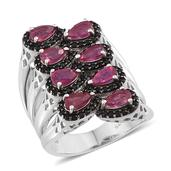 Niassa Ruby, Thai Black Spinel Platinum Over Sterling Silver Elongated Open Band Ring (Size 8.0) TGW 3.70 cts.