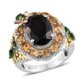 Thai Black Spinel, Brazilian Citrine, Russian Diopside 14K YG and Platinum Over Sterling Silver Openwork Ring (Size 8.0) TGW 10.58 cts.