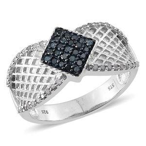 Blue Diamond (IR), Diamond Platinum Over Sterling Silver Ring (Size 9.0) TDiaWt 0.50 cts, TGW 0.500 cts.