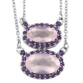 Everlasting by Katie Rooke Galilea Rose Quartz, Amethyst Platinum Over Sterling Silver Necklace (18 in) TGW 7.75 Cts.