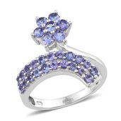 Tanzanite Platinum Over Sterling Silver Bypass Floral Drop Ring (Size 6.0) TGW 2.50 cts.