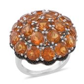 Santa Ana Madeira Citrine, Thai Black Spinel Sterling Silver Ring (Size 5.0) TGW 9.900 cts.