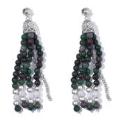 Hidden Treasures Contemporary, Green Quartzite,Multi Gemstone Platinum Over Sterling Silver Tassel Earrings TGW 90.75 Cts.