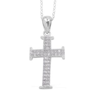 Simulated Diamond Sterling Silver Cross Pendant With Chain (18 in) TGW 0.62 Cts.