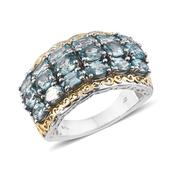 Cambodian Blue Zircon 14K YG and Platinum Over Sterling Silver Openwork Ring (Size 7.0) TGW 7.20 cts.