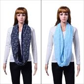 J Francis - Navy and Blue Set of 2 Infinity Scarves (60x32 in)