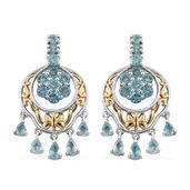 Madagascar Paraiba Apatite 14K YG and Platinum Over Sterling Silver Openwork Chandelier Earrings TGW 5.42 cts.