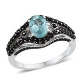 Madagascar Paraiba Apatite, Thai Black Spinel Platinum Over Sterling Silver Ring (Size 7.0) TGW 2.700 cts.