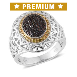 Certified Red and Yellow Diamond (IR) Black Rhodium, 14K YG and Platinum Over Sterling Silver Openwork Ring (Size 9.0) TDiaWt 0.50 cts, TGW 0.50 cts.