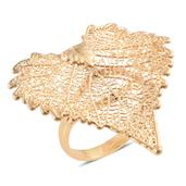 Nature's D'Or Cottonwood Leaf Dipped in 24K YG with 14K YG Over Sterling Silver Split Band Ring (Size 10.0)