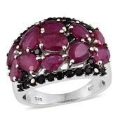 Niassa Ruby, Thai Black Spinel Platinum Over Sterling Silver Cluster Ring (Size 7.0) TGW 8.36 cts.