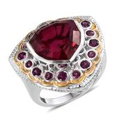 Magenta Quartz, Orissa Rhodolite Garnet 14K YG and Platinum Over Sterling Silver Ring (Size 7.0) TGW 15.50 cts.