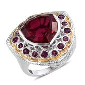 SUGAR by Gay Isber Magenta Quartz, Orissa Rhodolite Garnet 14K YG and Platinum Over Sterling Silver Ring (Size 9.0) TGW 15.500 cts.