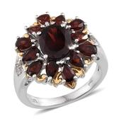 Mozambique Garnet, White Topaz 14K YG and Platinum Over Sterling Silver Ring (Size 7.0) TGW 7.10 cts.