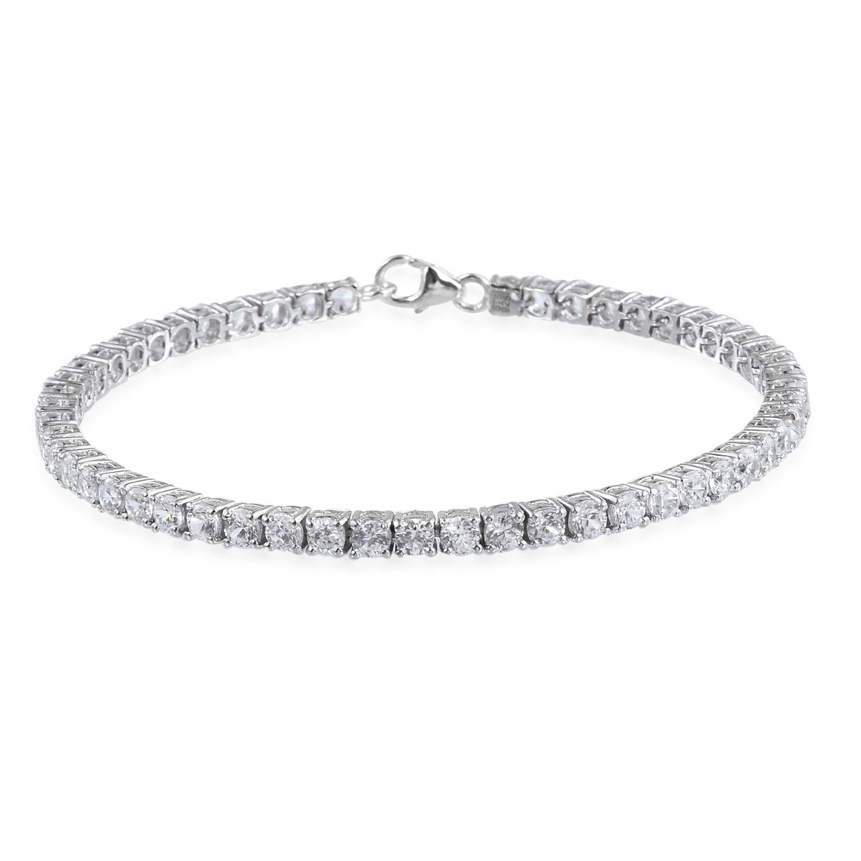 White Zircon Platinum Over Sterling Silver Bracelet (7.50 In) TGW 8.850 cts.