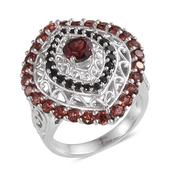 Mozambique Garnet, Thai Black Spinel Platinum Over Sterling Silver Ring (Size 8.0) TGW 4.640 cts.