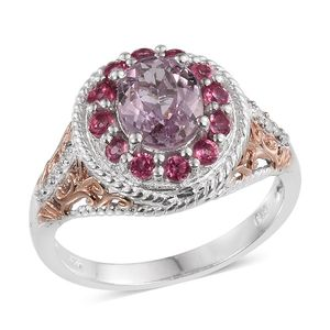 Kunzite, White Zircon, Mahenge Pink Spinel 14K RG and Platinum Over Sterling Silver Ring (Size 7.0) TGW 2.97 cts.
