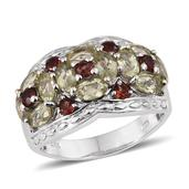 Canary Apatite, Mozambique Garnet Platinum Over Sterling Silver Ring (Size 6.0) TGW 3.54 cts.